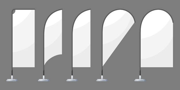 Banderas de playa blanca Vector Premium