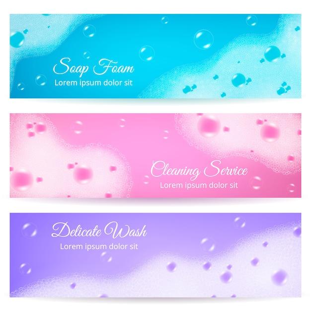 Banderas realistas de espuma de jabón vector gratuito