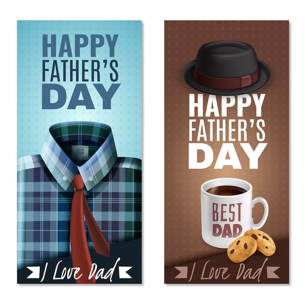 Banderas verticales realistas del día del padre vector gratuito