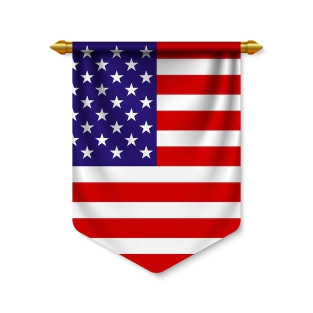 Banderín realista 3d con bandera Vector Premium