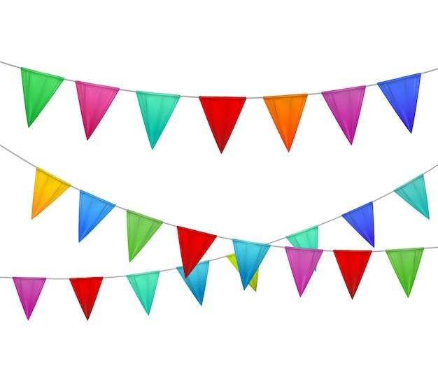 Banderines decorativos coloridos fiesta honda rojo azul amarillo naranja rosa sobre fondo blanco imagen realista vector gratuito