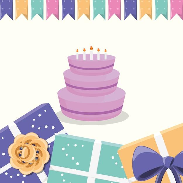 Banderines decorativos con torta de cumpleaños con velas y marco ...