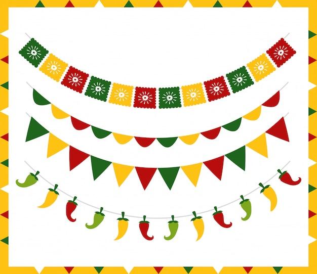 Banderines con diferentes símbolos mexicanos sobre blanco vector gratuito