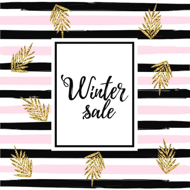 Baner de venta de invierno en el fondo de rayas. oro hojas ...