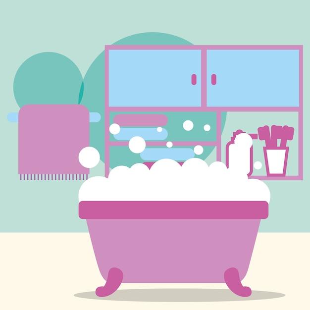 Bañera espuma muebles cepillos de dientes y toallas baño   Descargar ...