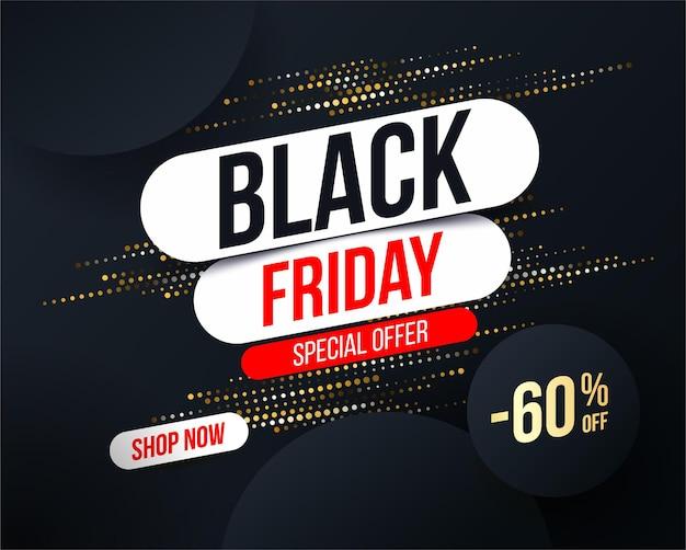 Banner abstracto de black friday con efecto de brillo de semitono dorado para ofertas especiales Vector Premium