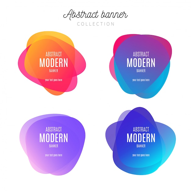 Banner abstracto colección colorida vector gratuito