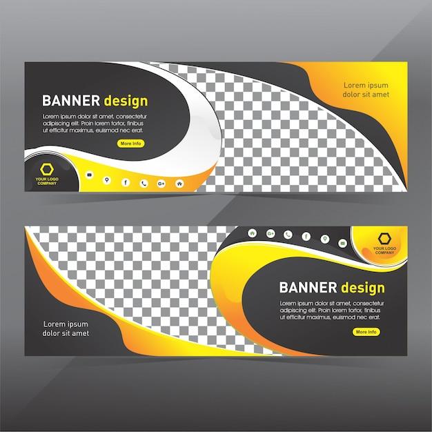 Banner abstracto negro y amarillo Vector Premium