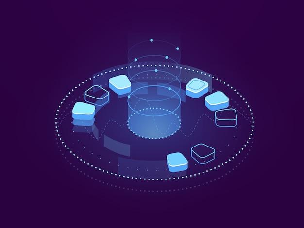 Banner abstracto de visualización de datos, procesamiento de big data, almacenamiento en la nube y alojamiento de servidores vector gratuito