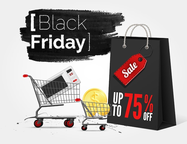 Banner de acuarela de viernes negro con salpicaduras de tinta y bolsa de compras y un carro Vector Premium
