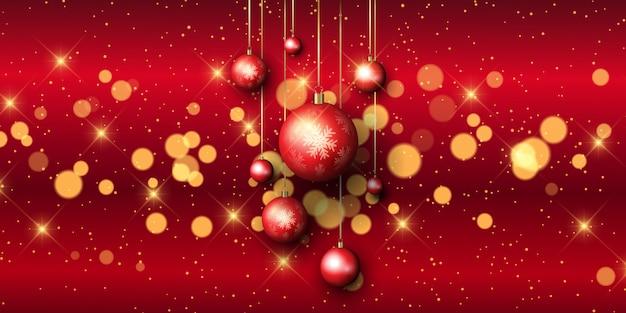 Banner de adorno de navidad con luces bokeh vector gratuito