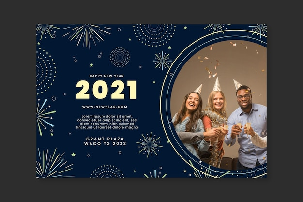Banner año nuevo 2021 vector gratuito