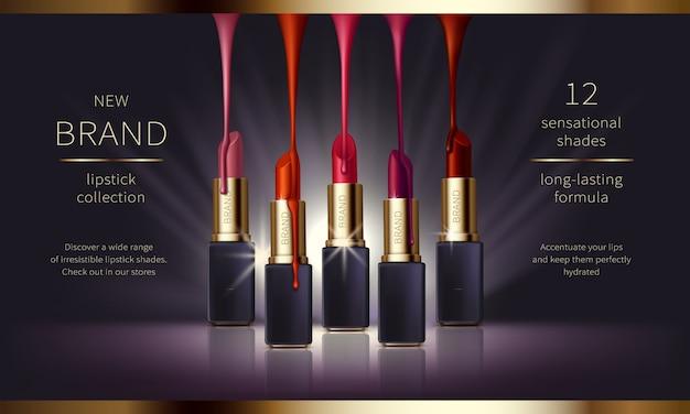 Banner de anuncios de vectores realistas cosméticos con premium vector gratuito