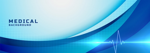 Banner azul de ciencia médica y salud vector gratuito