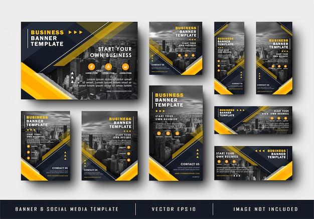 Banner azul marino azul amarillo de redes sociales para la placa de negocios de la empresa Vector Premium