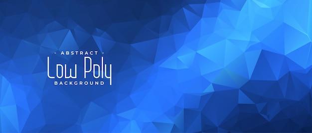 Banner azul bajo poli con fondo de formas triangulares vector gratuito