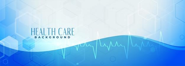Banner azul de salud con línea de latidos vector gratuito