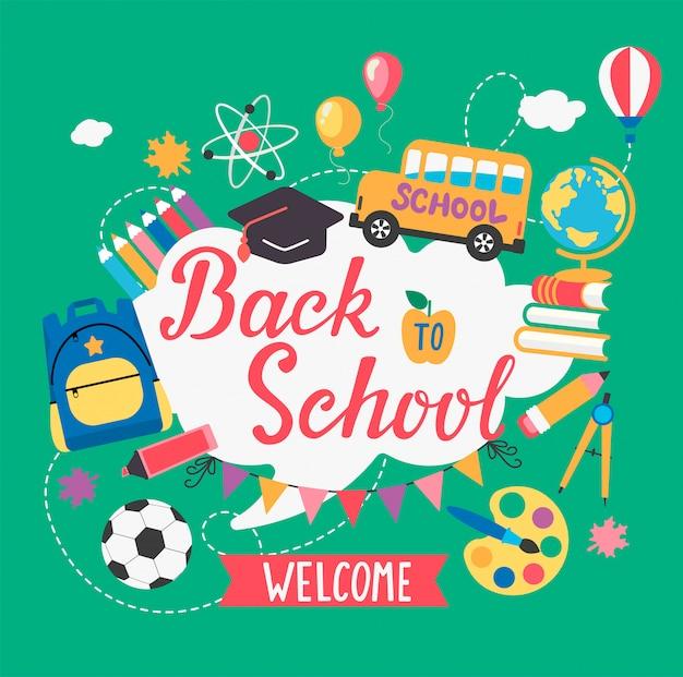 Banner bienvenido de regreso a la escuela Vector Premium