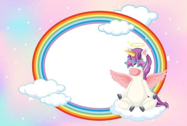 Banner en blanco con lindo unicornio en el fondo del cielo en colores pastel vector gratuito
