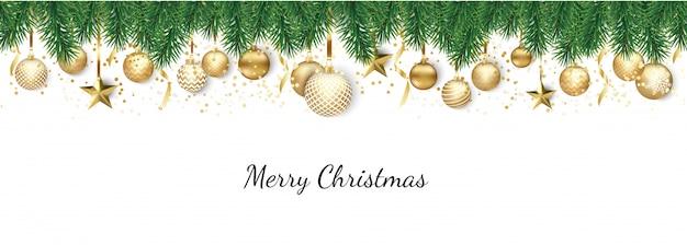 Banner con bolas navideñas y estrellas Vector Premium