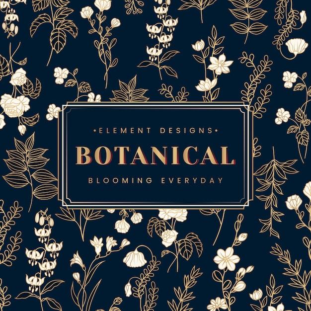 Banner botánico de texto vector gratuito