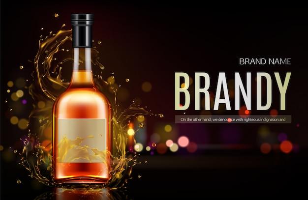 Banner de botella de brandy vector gratuito
