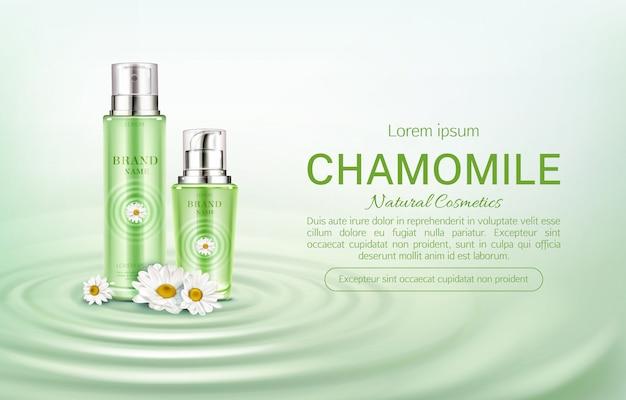 Banner de botellas de cosméticos de manzanilla ecológica vector gratuito