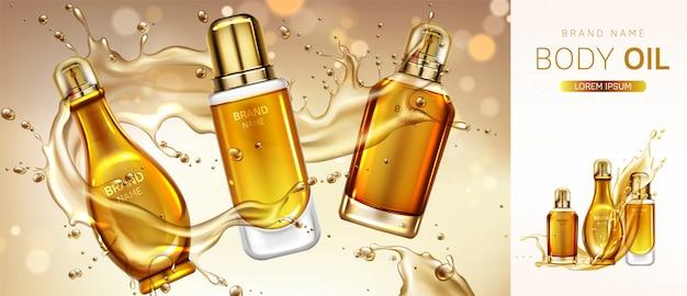 Banner de botellas de productos cosméticos de aceite corporal. vector gratuito