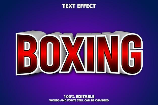 Banner de boxeo - efecto de texto 3d editable vector gratuito