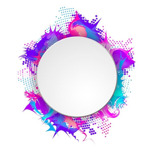 Banner brillante y colorido con marco redondo. tono medio abstracto Vector Premium