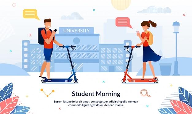 Banner brillante inscripción estudiante mañana, diapositiva. Vector Premium