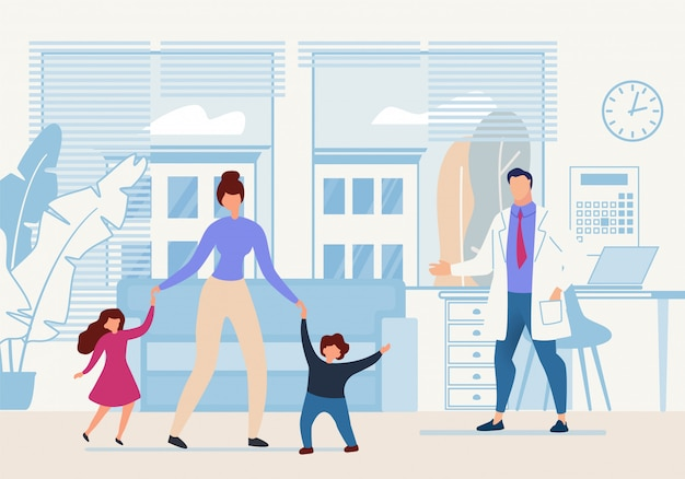 Banner brillante para niños doctor cartoon flat. Vector Premium