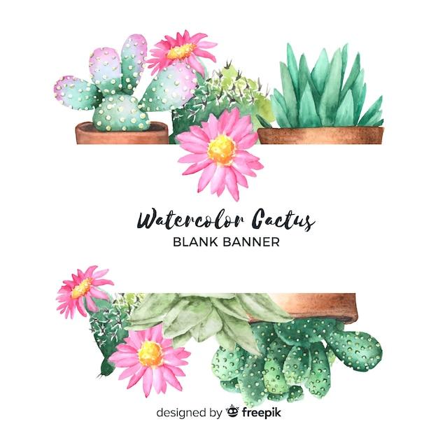 Banner de cactus de acuarela en blanco vector gratuito