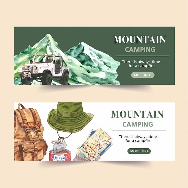 Banner de camping con furgoneta, montaña, mochila e ilustraciones de mapas vector gratuito