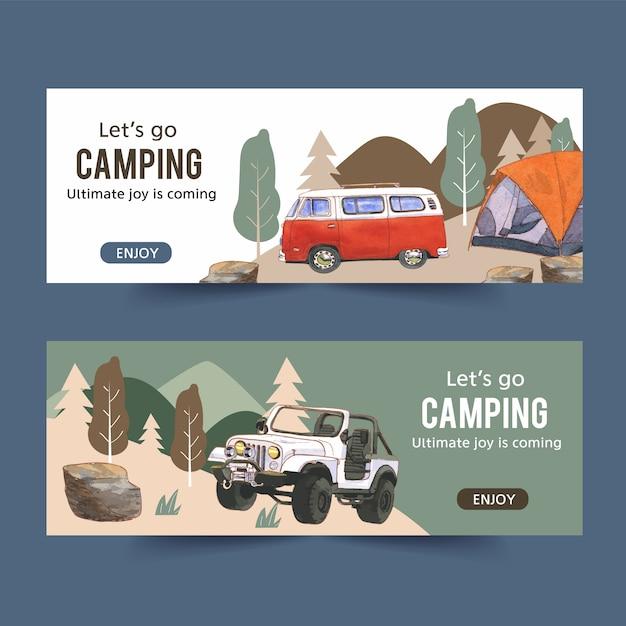 Banner de camping con ilustraciones de furgonetas, automóviles y carpas vector gratuito