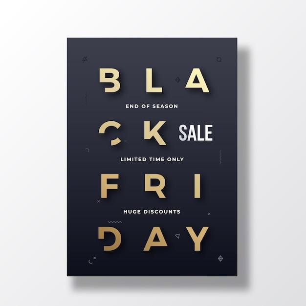 Banner, cartel o plantilla flayer de tipografía minimalista de black friday. vector gratuito
