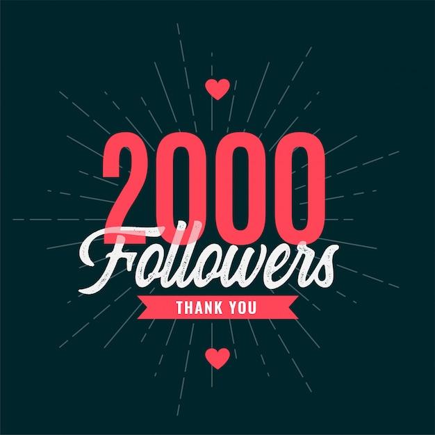 Banner de celebración de 2000 suscriptores vector gratuito