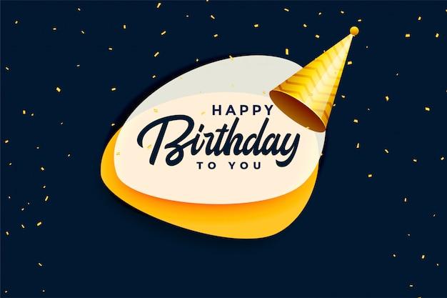 Banner de celebración de feliz cumpleaños con gorra realista vector gratuito