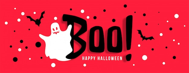 Banner de celebración feliz halloween con fantasma blanco vector gratuito