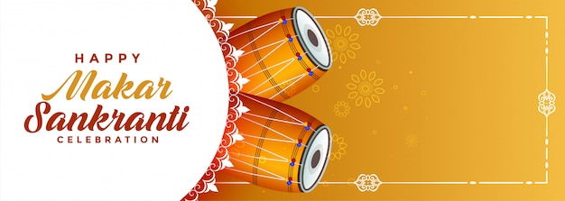 Banner de celebración de makar sankranti con copyspace vector gratuito
