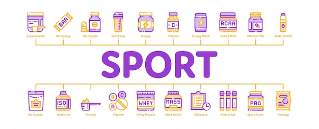 Banner de células de nutrición deportiva Vector Premium