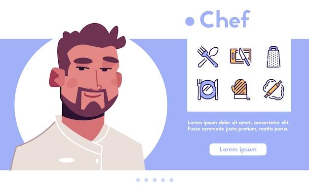 Banner de chef de carácter de hombre. trabajo culinario, comida, cocina y restaurante. conjunto de iconos lineales de color: cuchara, tenedor, cuchillo, plato, tabla de cortar, utensilios, herramientas de cocina, servir Vector Premium