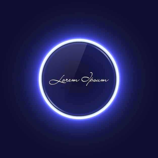 Banner de círculo de neeon con efecto de luz brillante Vector Premium