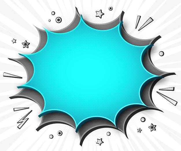 Banner de cómic de dibujos animados en estilo pop art con burbujas de discurso gris - azul Vector Premium