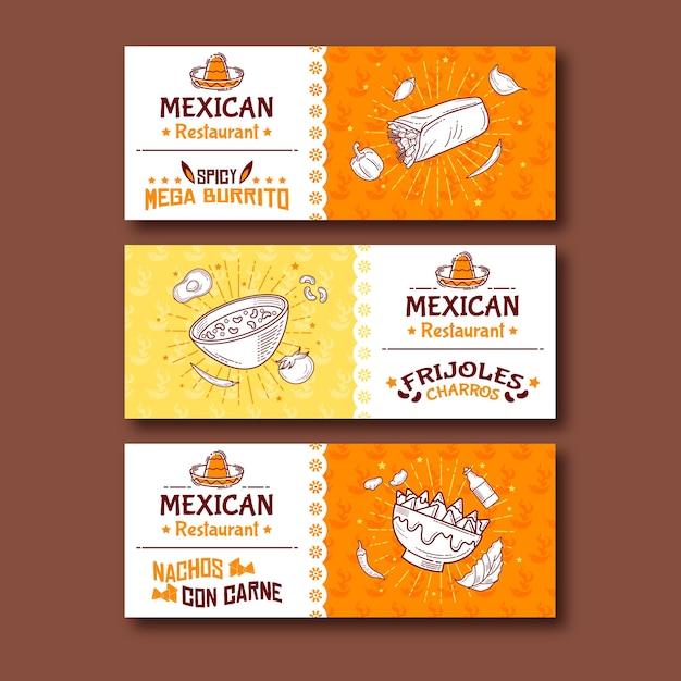 Banner de comida mexicana mega burritos picantes vector gratuito
