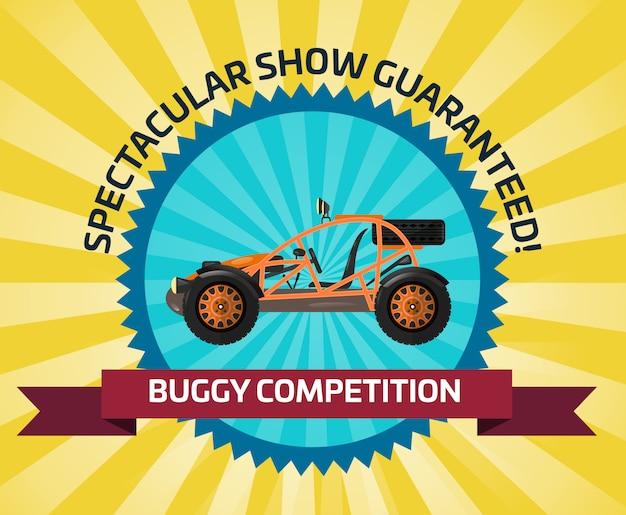 Banner de competencia de coche con buggy off road Vector Premium