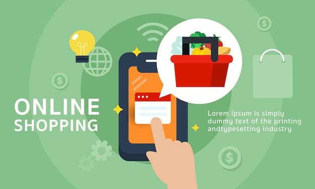 Banner de compras en línea Vector Premium