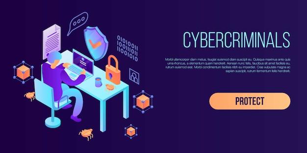Banner concepto cibercriminales, estilo isométrico. Vector Premium