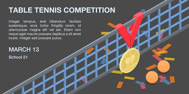 Banner de concepto de competición de tenis de mesa, estilo isométrico Vector Premium
