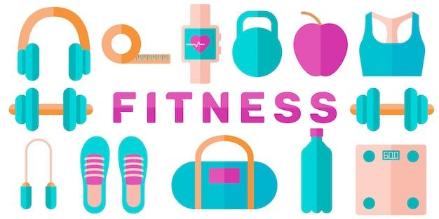Banner de concepto de fitness Vector Premium